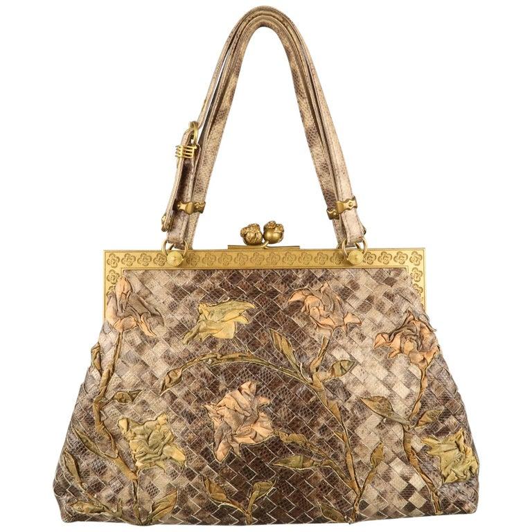 3b9839cd68 BOTTEGA VENETA Lavorazione Fatta a Aano Taupe Intrecciato Lizard Leather  Handbag For Sale at 1stdibs