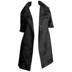 1960s Vintage Black Damask Evening Opera/ Dress Coat or Duster with 3/4 Sleeves