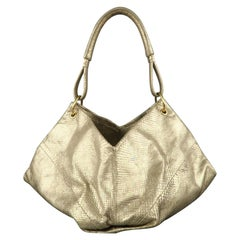 BOTTEGA VENETA Light Gold Metallic Snake Skin Hobo Handbag