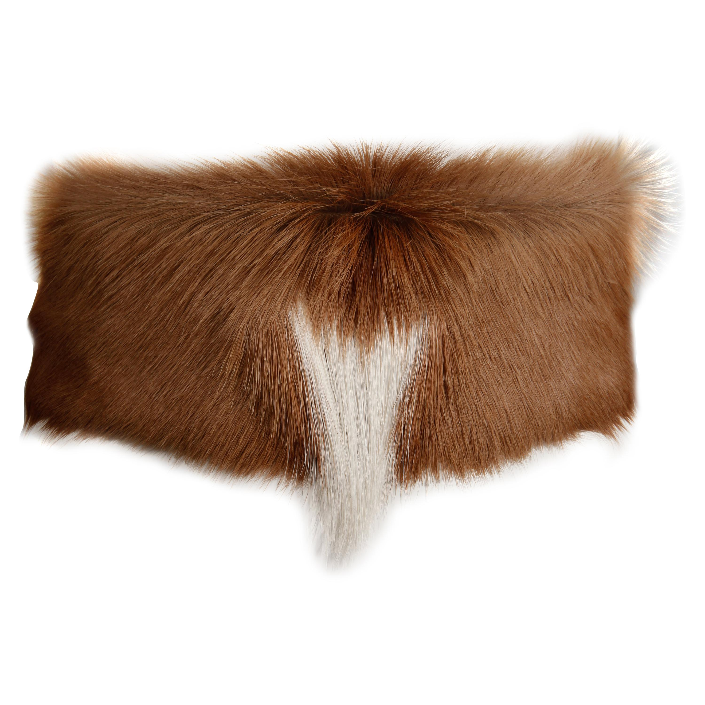 Rare Handmade Signed Ann Turk Vintage Brown Fur + Suede Leather Runway Belt