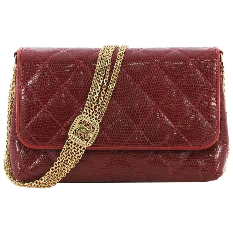 9cd5f7a4813d Chanel Vintage Multi Chain Flap Bag Quilted Lizard Small For Sale at ...