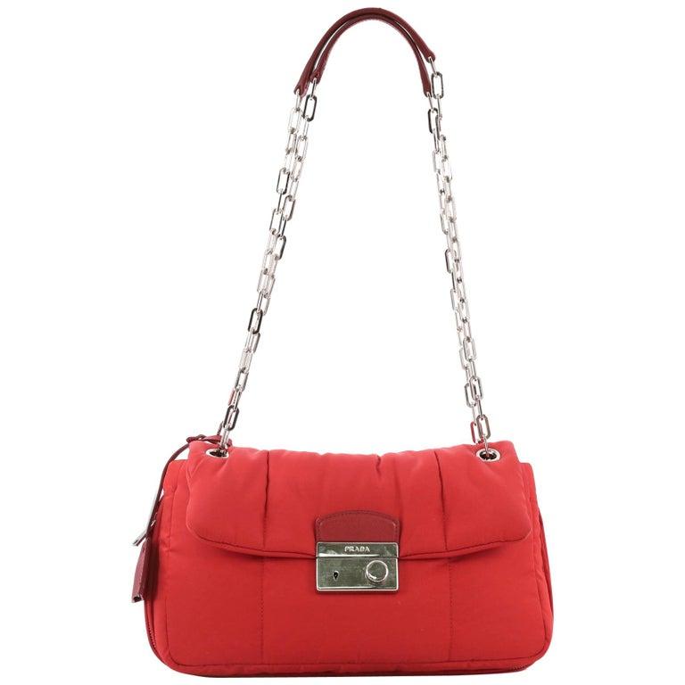 11d7edaf3cbc05 Prada Pattina Bomber Chain Link Shoulder Bag Tessuto Medium For Sale ...