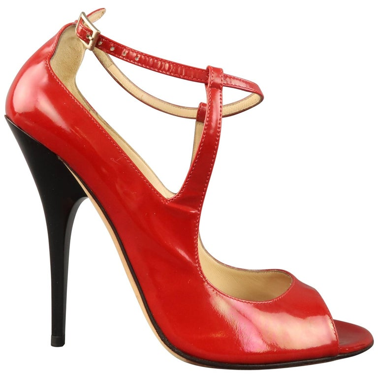2eb1edaecba JIMMY CHOO Size 7 Red Patent Leather Peep Toe Ankle Straps Black Heel Pumps  For Sale