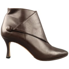 MANOLO BLAHNIK Size 8.5 Brown Leather Diaz Ankle Boots