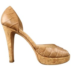 OSCAR DE LA RENTA Size 6.5 Beige Embossed Leather Cork Heel Platfprm Pumps