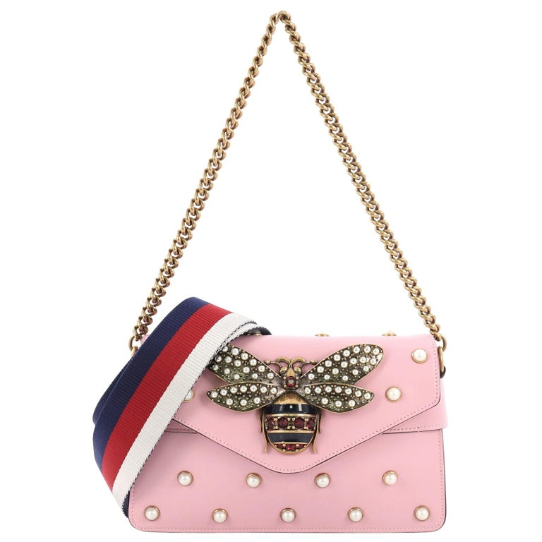 8185babfd93 Gucci Broadway Pearly Bee Shoulder Bag Embellished Leather Mini For Sale