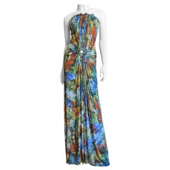 Jean Paul Gaultier Silk Ruched Strapless Maxi Dress