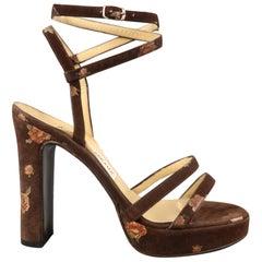 Vintage DOLCE & GABBANA 7.5 Brown Floral Suede Strappy Platform Chunky Sandals