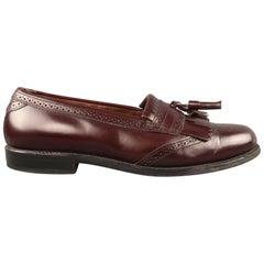 ALLEN EDMONDS Size 9.5 Burgundy Brogue Leather Eyelash Tassel BRIDGETON Loafers