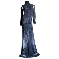 1990s Gaultier Trompe L'oeil Maxi Dress with Removable Sleeves