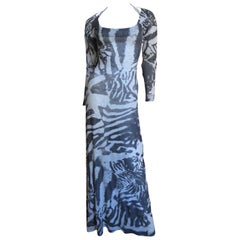 Aexander McQueen Abstract Print Backless Maxi Dress