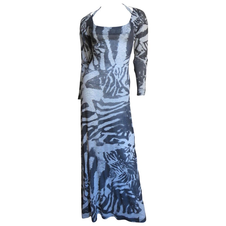 Aexander McQueen Abstract Print Backless Maxi Dress For Sale