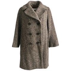 Dolce & Gabbana Coat Wool Herringbone Double Breasted Brown Cream Sz 40