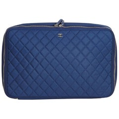 Chanel Blue Matelasse Laptop Bag