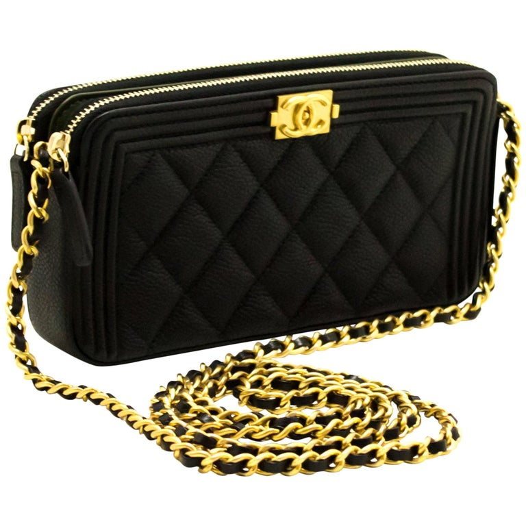ea540cb1b1b0 MINT! CHANEL Boy Black Caviar WOC Wallet On Chain Zip Shoulder Bag ...