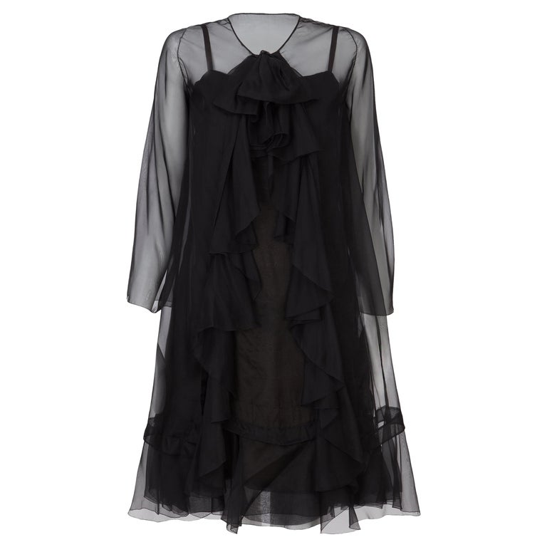 Christian Dior, Black Chiffon dress with jacket, Spring/Summer 1966 For Sale