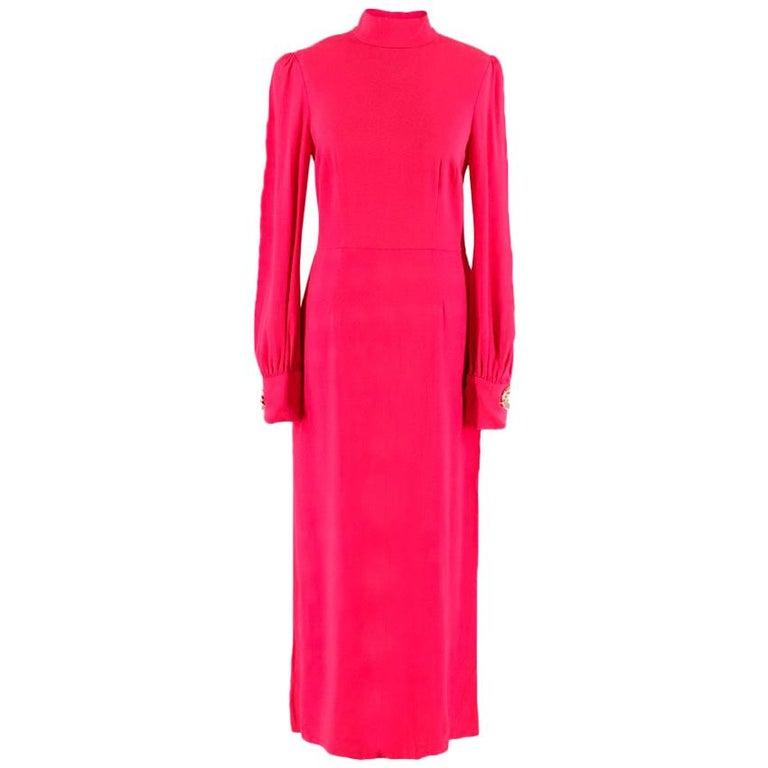 295ec38b434 Giles fuschia-pink high-neck dress US 6 For Sale at 1stdibs