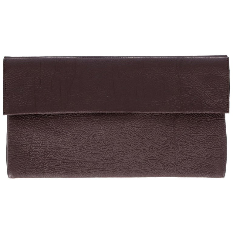 Marni Vintage Brown Leather Clutch, 2000s For Sale