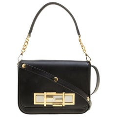 Fendi Black Leather 3Baguette Shoulder Bag