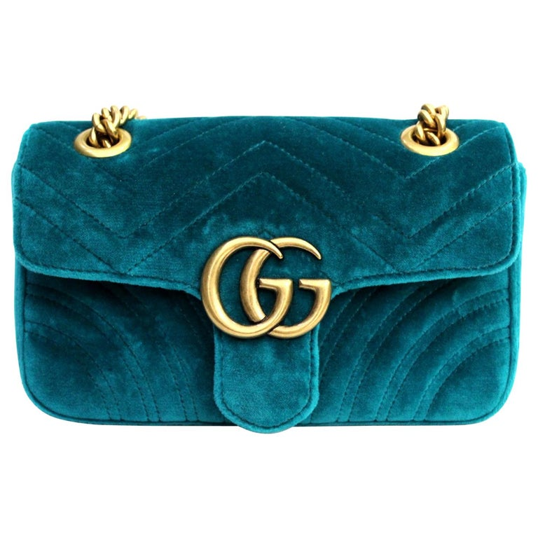 e4e9b346377a 2018 Gucci Petrol Blu Velvet Marmont Bag For Sale at 1stdibs