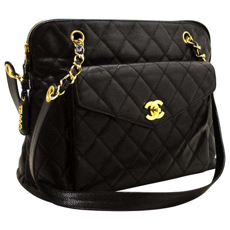 7d567664e5 CHANEL Caviar Quilted Chain Shoulder Bag Leather Black Zip Goldper For Sale