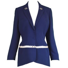 Thierry Mugler Vintage Silver Chain Panel Cut Out Detail Womens Blazer, 1990s