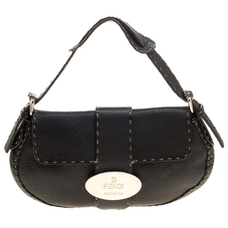 Fendi Black Leather Selleria Shoulder Bag For Sale at 1stdibs 3fa6e9c5fff8a