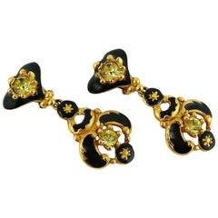 Christian Lacroix Vintage Jewelled Black Enamel Heart Baroque Dangling Earrings