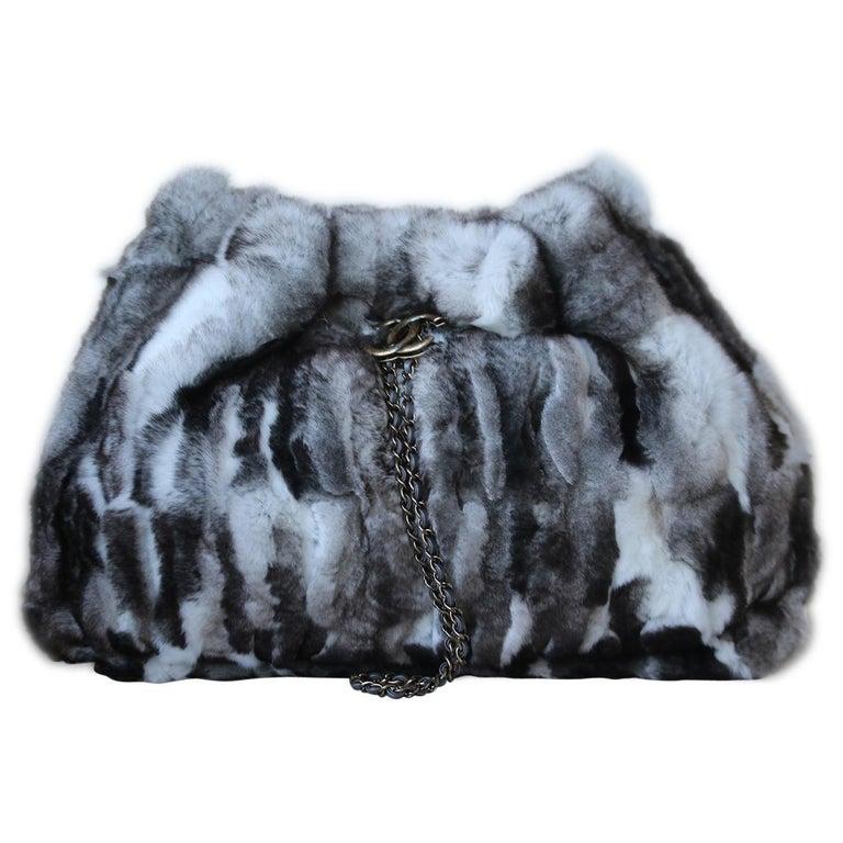 Chanel Chinchilla Fur Chain Drawstring Shoulder Bag  For Sale