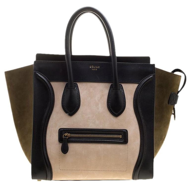 09e07e7179 Celine Tri Color Leather and Suede Mini Luggage Tote For Sale at 1stdibs