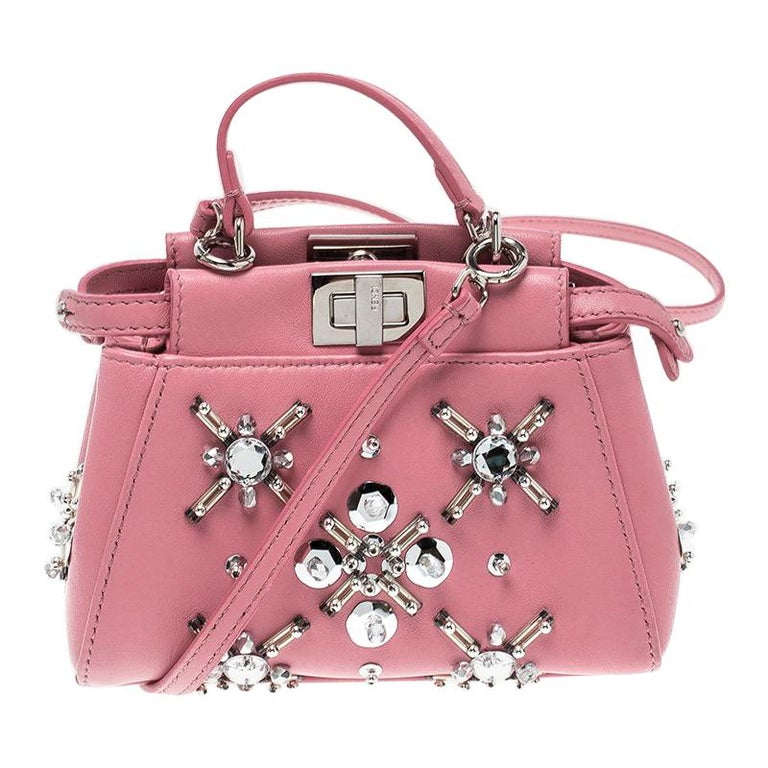 d86eaebd950d Fendi Pink Leather Micro Crystal Embellished Peekaboo Crossbody Bag For Sale