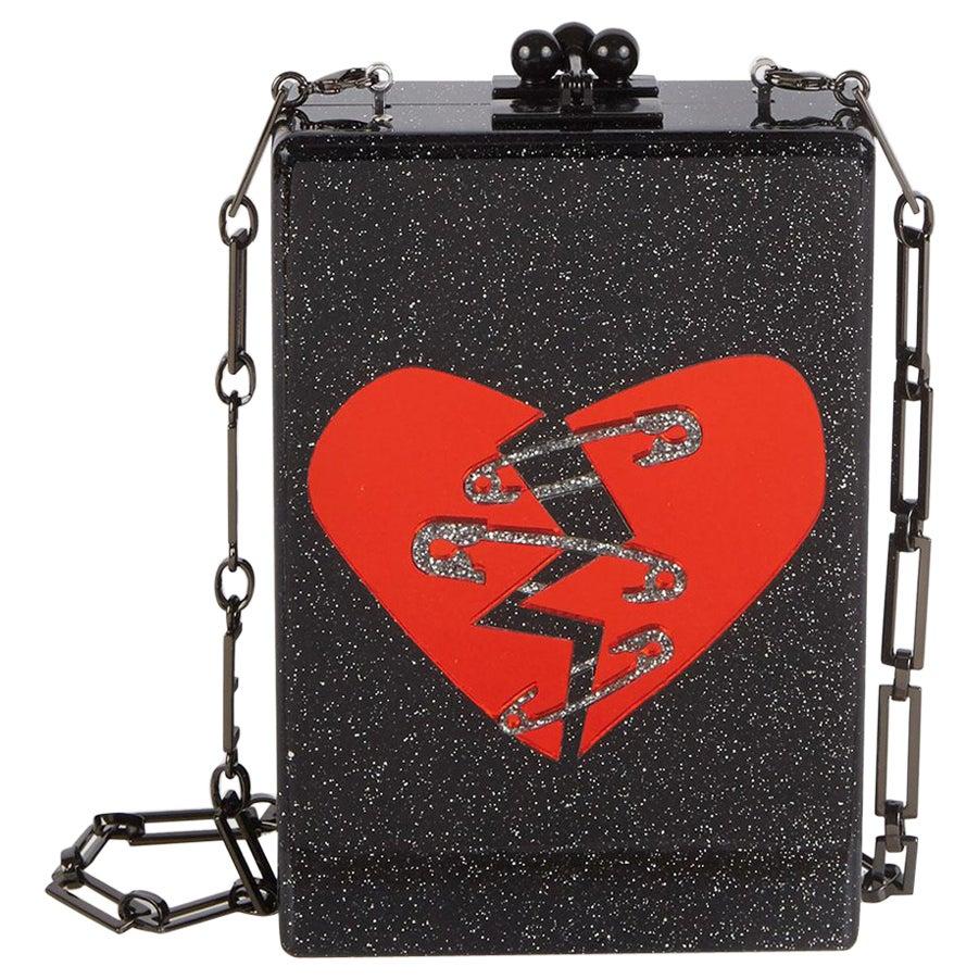 Edie Parker Carol Broken Heart Acrylic Box Clutch