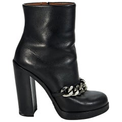 Black Givenchy Chain Leather Ankle Boots