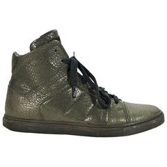 Green Brunello Cucineli Leather High-Top Sneakers