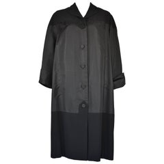 1950's Pierre Balmain Haute Couture Black Satin and Wool Swing Coat
