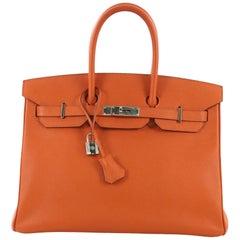 Hermes Birkin Handbag Orange H Epsom with Palladium Hardware 35