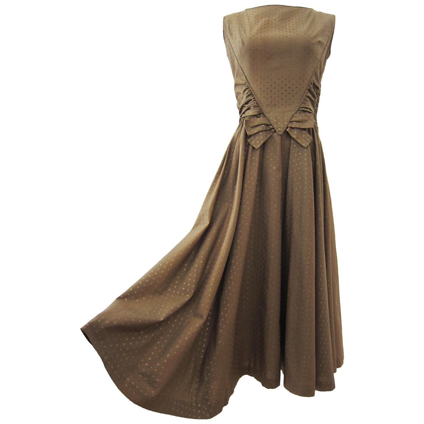 Ann Marsh NY Beige Golden Polka Dots Dress 1950s