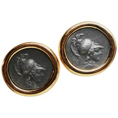 Carolee Classical Roman Medallion Cameo Clip-on Earrings