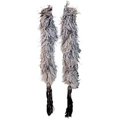 Art Deco 1920s 1930s Black Off-White Ostrich Feather Boa with Tassels, Paris