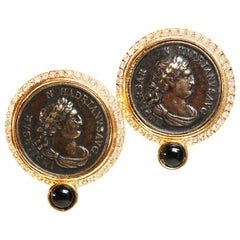 Blanca Greek Revival Medallion Cameo Clip-on Earrings