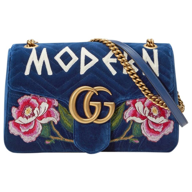 a4b51a93c Gucci GG Marmont Embroidered Velvet Bag For Sale at 1stdibs