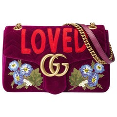 Gucci GG Marmont Embroidered Velvet Bag