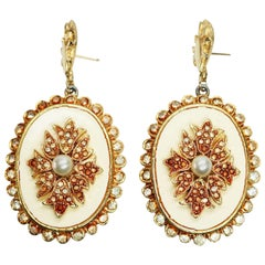 Vendome Pave Crystal and Simulated Pearl Earrings