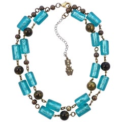 Butler & Wilson Gold Tone Necklace with Aqua Blue and Black / Gold Glass Beads