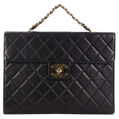 Chanel Vintage Chain Handle Double Pocket Briefcase Quilted Lambskin Large