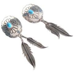 Vintage Southwest Navajo Sterling Silver Sleeping Beauty Turquoise Earrings