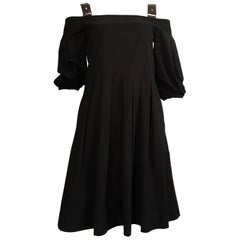 Alberta Ferretti Black Cotton Casual Dress with Pockets is Size 4.