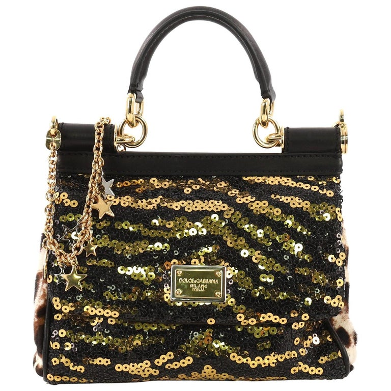 8f2125bbec Dolce and Gabbana Miss Sicily Handbag Sequins Small For Sale at 1stdibs