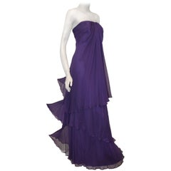 Pamela Roland Three Tier Purple Silk Strapless Gown
