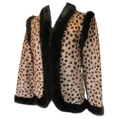 Bill Blass leopard pony and mink fur jacket